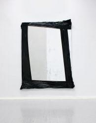 240 x 175 cm, Lack, Acryl, Lackspray, Marker, Folie auf Leinwand, 2014 installation view Tile, Kunstquartier Bethanien, Berlin, photo: Elmar Vestner