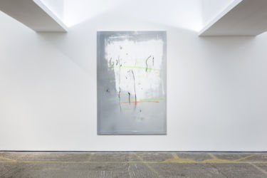 <em>labo(rat)ori</em>, 200 x 135 cm, Acryl, Lack, Lackspray, Folie auf Leinwand, installation view PMAM, London 2017