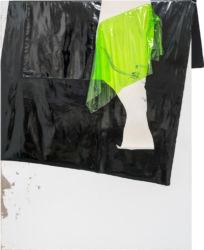 <em>after white</em> 200 x 155 cm, Acryl, Lack, Folie, Lacktex auf Leinwand, 2018