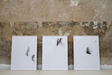 <em>deconnotation</em>, je 65 x 45 cm, gerahmt 75,1 x 56,1 cm, Monotypie auf UV Druck, Acryl auf Aludibond, Installation View frontviews, Berlin, 2018