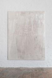 <em>deconnotation</em>, 200 x 150 cm, Acryl, Lack, Lackspray, PE film auf Leinwand, installation view frontviews, Berlin 2018